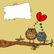 Stock Illustration of owl love greeting card