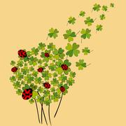 lucky spring clover - stock illustration