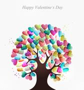 love hearts concept tree - stock illustration
