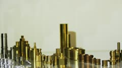 Brass spare parts in exhibition Stock Footage