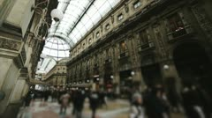 Crowded of tourist in Galleria Vittorio Emanuele Stock Footage