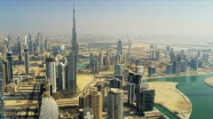 Aerial view of city downtown Dubai Stock Footage