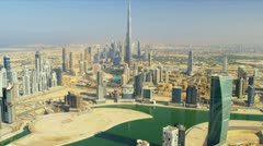 Aerial view Burj Khalifa Dubai Creek Dubai Stock Footage