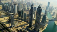 Stock Video Footage of Aerial view Burj Khalifa,  Dubai