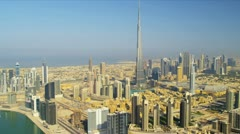 Aerial view Burj Khalifa  downtown Dubai - stock footage