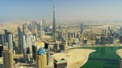 Aerial view Burj Khalifa Dubai Creek Dubai - stock footage
