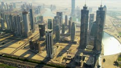 Aerial view of city downtown Dubai - stock footage