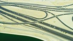 Aerial view desert Interchange, Dubai Stock Footage