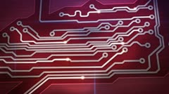 Red digital circuit board and signals pan loop Stock Footage