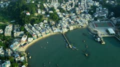 Aerial view of Yung Shue Wan Hong Kong Stock Footage
