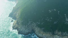 Aerial view of coastline sea cliffs Hong Kong  Stock Footage