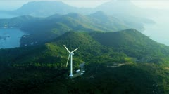 Aerial view of Wind Turbine  Hong Kong Stock Footage