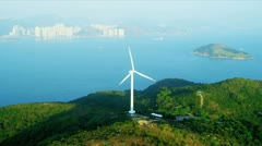 Aerial view of Wind Turbine Hong Kong Coastline Stock Footage