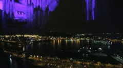 City by night - Barcelona (behind the glass), stedi cam Stock Footage