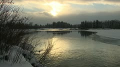 P02514 Snake River in Winter at Dusk Stock Footage
