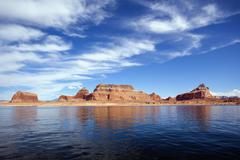 famous red cliffs of the lake powell - stock photo
