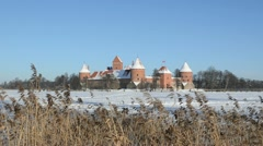 Stock Video Footage of People tourists recreate Trakai castle snow frozen lake reeds