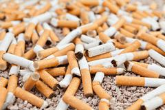fallen cigarettes chaos - stock photo