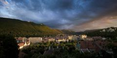 Evening over the mountains in Brasov Stock Photos