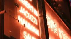Closeup of neon entrance - Moulin Rouge, stedi cam Stock Footage
