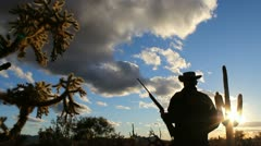 Arizona Rancher Rifle Silhouette Stock Footage