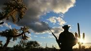 Arizona Rancher Rifle Silhouette Stock Footage