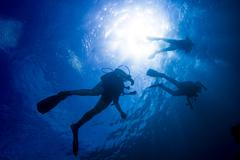 Scuba divers in silhouette swimming Stock Photos