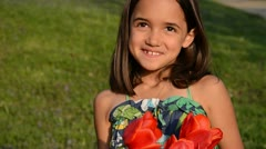 Girl Playing with Flowers - stock footage