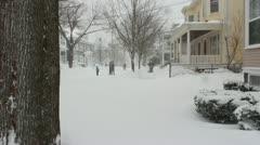 Residents Outside During Blizzard in Salem, Massachusetts Stock Footage