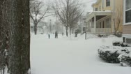 Residents Outside During Blizzard in Salem, Massachusetts Stock Footage