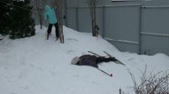 Girl skiing - stock footage