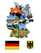 the map of regions and the arms of germany - stock illustration