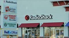 Radio Shack electronics storefront loop Stock Footage
