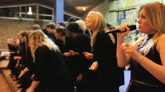 lady sings high at gospel choir - stock footage