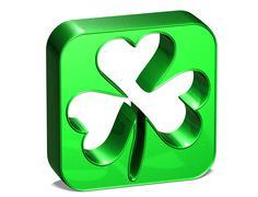 3d green clover over white background - stock illustration