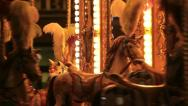 Stock Video Footage of Carousel horses merry go round