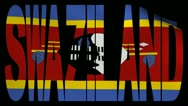 Swaziland text with fluttering flag animation Stock Footage