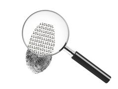 Fingerprint and binary - stock illustration