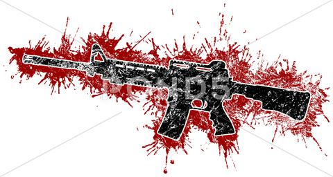Stock Illustration of Assault rifle with blood stains