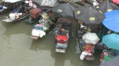 Aerial View of Boats Selling Food at Amphawa Stock Footage