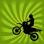 Dirt bike silhouette - stock illustration