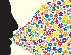 Face silhouette blowing flowers - stock illustration