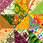 Flower patchwork - stock illustration