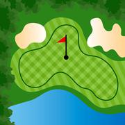 Golf course hole Stock Illustration