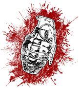 Grenade kanssa ampui verta Piirros