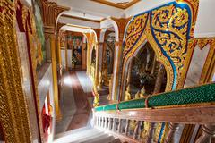 Interior of buddhist temple - wat chalong Stock Photos