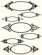 Oval frames with flourishes Stock Illustration