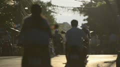 Slow Vietnamese Motorbike Traffic, Hoi An - stock footage