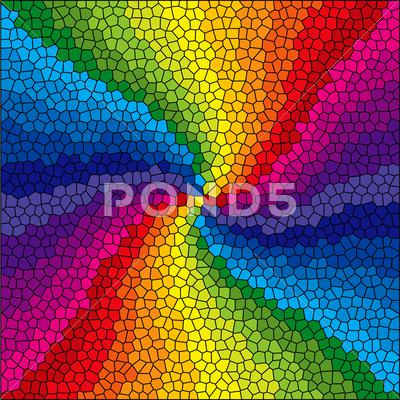 Stock Illustration of Stained glass rainbow burst