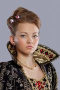 young woman in princess carnival dress - stock photo